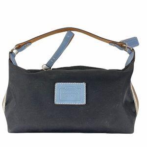 Coach Leatherware Mini Nylon Blue Leather Trim Bag